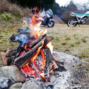 河原で焚き火!!焼き芋&キノコのホイル焼きツーリングin京都府亀岡市