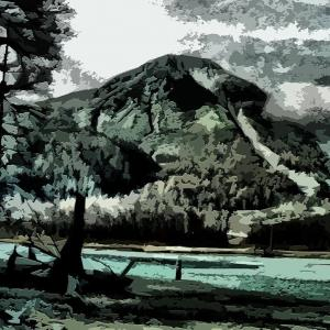 焼岳  Digital 版画