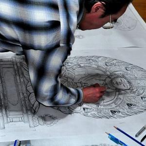 原寸 仏像下絵を描く 〔寺院様・個人様、彫刻ご依頼分〕