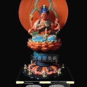 極彩色・愛染明王座像・90cm高〔寺院様、個人様向き〕