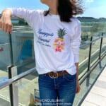 花柄パイナップル長袖Tシャツ(ワイメアブルー)
