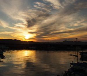 夕涼み時の夕陽