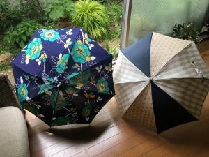 浴衣で『日傘』