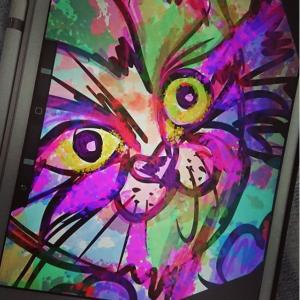 iPadとApple Pencilでアホ面の無垢なる瞳をした可愛い猫を描いてみたら・・・・その3 ステンドグラス