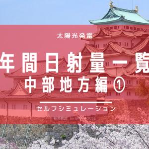 【中部地方編①】NEDO地域別の日射量一覧。日本海側は日射量がかなり低い結果です。