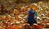 落ち葉のじゅうたんの上で、晴れ着のチェルシー