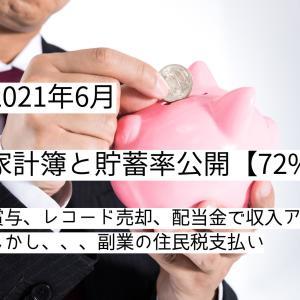 【2021年6月】家計簿について【貯蓄率:72%】
