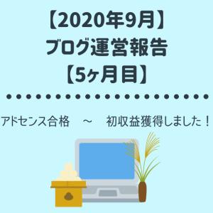 【2020年9月】ブログ運営報告 アドセンス合格後、初収益獲得!【5ヶ月目】
