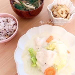 *今日の献立*白菜と鶏胸肉のクリーム煮