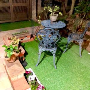 ガーデンテーブルと芝