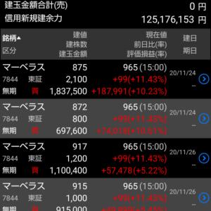 本日、久しぶりに含み益大きく増えました。+1300万円