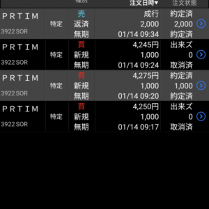 デイトレ、週トレ4連勝ならず 保有株は1018万円の含み益 21年1月14日の午前中