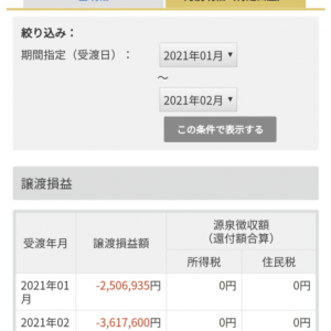 2月の収支 361万円の損失 特定口座内資産は6963万円。2月27日、土曜日