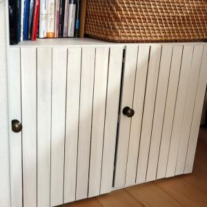 DIY:カラーボックスに扉をつけて目隠し。セリアのすのこ利用!
