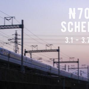N700S運用予定(3月1日~3月7日)