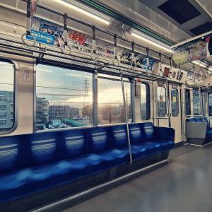 東京メトロ有楽町線 車窓から眺める夕日