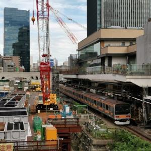 御茶ノ水橋から撮影したJR御茶ノ水駅のホームと工事の様子