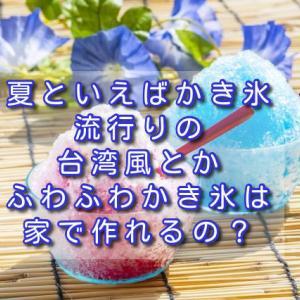 夏といえばかき氷、流行りの台湾風とかふわふわかき氷は家で作れるの?
