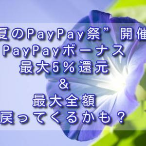 """""""夏のPayPay祭""""開催!PayPayボーナス最大5%還元&最大全額戻ってくるかも?"""