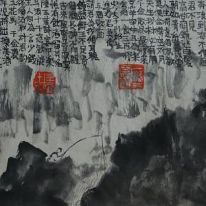 2020.12個展作品紹介ー05、李白、将進酒詩意画。