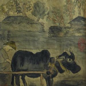 2020.12個展作品紹介ー08、古都ホアルー、牛も居る街角、ベトナム。