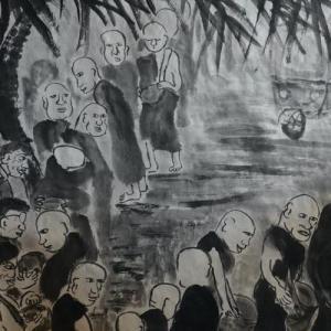 2020.12個展作品紹介ー13,托鉢行、朝の少年托鉢僧の行列。