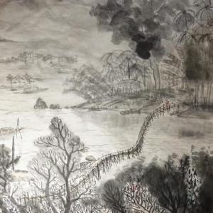 2020.12個展作品紹介ー14,流れ竹橋、雨季には流れてしまう竹橋、ルアンパバーン。