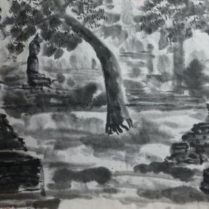 2020.12個展作品紹介ー15,仏像、アユタヤ遺跡、タイ。