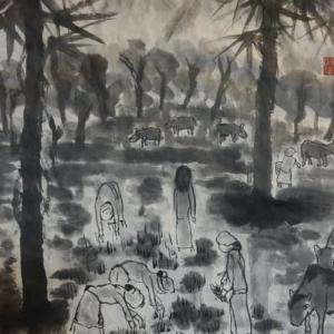 2020.12個展作品紹介ー17,ミャンマー水村、ミャンマー、パアン。