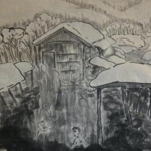 2020.12個展作品紹介ー19,雪見風呂、秋田、乳頭温泉露天風呂。