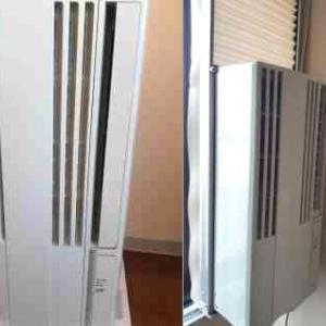 札幌市豊平区、北区にて、窓用エアコンの取り付け作業