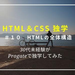 【プログラミング独学】HTML&CSS 10日目、HTMLの全体構造(1)