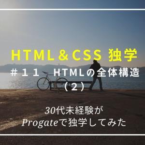【プログラミング独学】HTML&CSS 11日目、HTMLの全体構造(2)