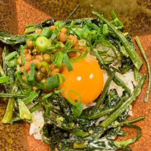 卵黄納豆withほうれん草ソテー丼
