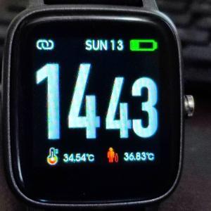 T98スマートウォッチのレビュー、歩数、距離、消費エネルギ、体温などの検証