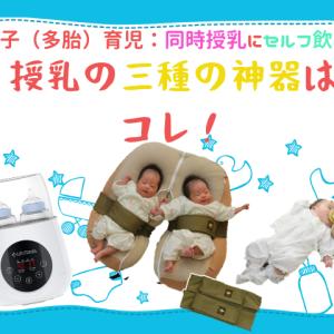 双子(多胎)育児:同時授乳にセルフ飲み、授乳の三種の神器はコレ!
