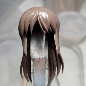 [製作]メガミデバイス 兼志谷 シタラ 06「髪の毛のグラデーション塗装とマスキングによる塗分け」