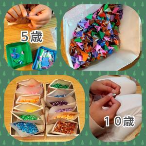 折り紙を大量に小さく折る。