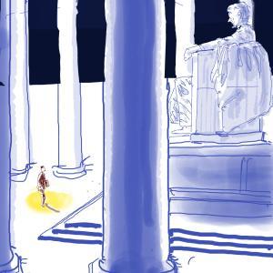 元気が出る映画の名場面のイラストを描いてみた 「スミス都に行く」