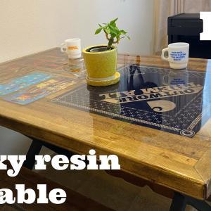 【レジンテーブル作り方】40?のエポキシ樹脂を流し込み、自分の宝物を閉じ込めた