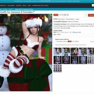 DAZ Studio 4.14でクリスマス向けのCG女性を作ってみた。