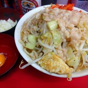 ラーメン二郎仙台店「小+豚1+生卵+キムチ+たまねぎ」+キリンラガーを実食