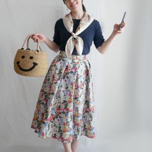 花柄タックスカート着てみました