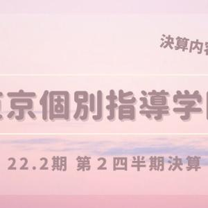 東京個別指導学院が22.2期2Q決算を発表!【続々と新規開校、生徒数も回復傾向!】