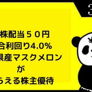 静岡県産マスクメロンがもらえる株主優待(*・ω・)ノ