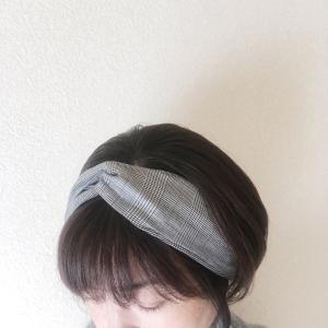 グレンチェックのヘアターバン