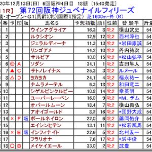 【競馬予想】第72回阪神ジュベナイルフィリーズ