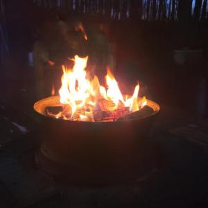 「有明の月」を愛で「初外食」そして「初焚き火」の日