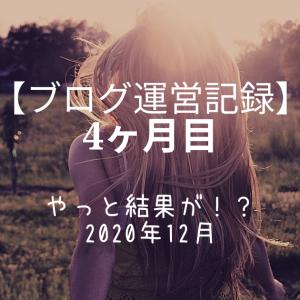 【ブログ運営記録】4ヶ月目 やっと結果が!? 2020年12月