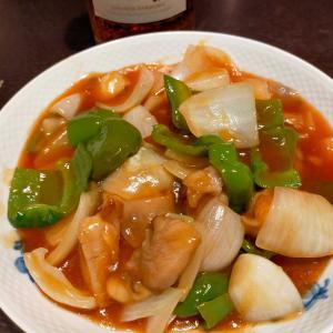 鶏肉と野菜の甘酢炒め、、、